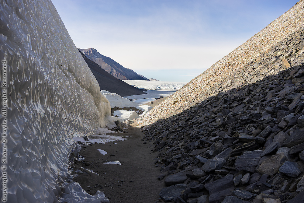 The Defile, which is this narrow passage between the terminus of the Suess Glacier on left and the slopes of the Nussbaum Riegel on right, with Lake Hoare and the Canada Glacier ahead. A nice arrival after trekking all day.
