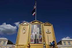 May 1, 2019 - Bangkok, Thailand - Workers prepare Thailand's King Maha Vajiralongkorn portrait at Grand Palace, in Bangkok, Thailand 01 May 2019. (Credit Image: © Anusak Laowilas/NurPhoto via ZUMA Press)