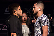 DALLAS, TX - MAY 10:  Henry Cejudo faces off with Sergio Pettis during the UFC 211 Ultimate Media Day at the House of Blues Dallas on May 10, 2017 in Dallas, Texas. (Photo by Cooper Neill/Zuffa LLC/Zuffa LLC via Getty Images)