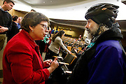 MADISON, WI — FEBRUARY 13, 2015: UW Chancellor Rebecca Blank, left, discusses issues with UW Staff member Steve Goldstein following a public Q&A forum in Ebling Auditorium, Friday, February 13, 2015. After Governor Scott Walker's recent budget cut proposal of $300 million over the next two years, the University has held numerous forums to address concerns of students, faculty and staff.