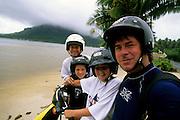 Family, Mopeds, Bora Bora, French Polynesia