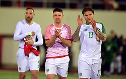 Republic of Ireland's Jeff Hendrick (right) and Enda Stevens applaud the fans after the UEFA Euro 2020 Qualifying, Group D match at the Victoria Stadium, Gibraltar.