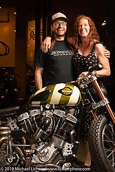Christian Newman with his 1978 Harley-Davidson split-rocker Shovelhead turbo custom from Buffalo, New York at the Handbuilt Show. Austin, Austin USA. Sunday, April 14, 2019. Photography ©2019 Michael Lichter.