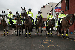 "© under license to London News Pictures.  05/02/2011. Police Line up on horseback in Luton at an English Defence League protest titled ""Back To Where It All Began."" Photo credit should read Michael Graae/London News Pictures"
