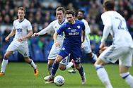 Craig Bryson of Cardiff city © makes a break.  EFL Skybet championship match, Cardiff city v Birmingham City at the Cardiff city stadium in Cardiff, South Wales on Saturday 10th March 2018.<br /> pic by Andrew Orchard, Andrew Orchard sports photography.