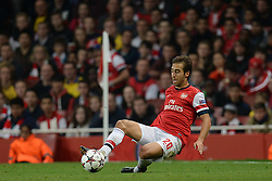 LONDON, ENGLAND - Oct 01: Arsenal's midfielder Mathieu Flamini from France  during the UEFA Champions League match between Arsenal from England and Napoli from Italy played at The Emirates Stadium, on October 01, 2013 in London, England. (Photo by Mitchell Gunn/ESPA)