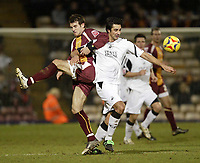 Photo: Aidan Ellis.<br /> Bradford City v Swansea City. Coca Cola League 1. 13/01/2007.<br /> Bradford's Marc Bridge-Wilkinson (L) battles with Swansea's Rory Fallon