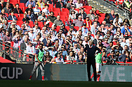 Arsene Wenger, the Arsenal manager looks on from the touchline. The Emirates FA Cup semi-final match, Arsenal v Manchester city at Wembley Stadium in London on Sunday 23rd April 2017.<br /> pic by Andrew Orchard,  Andrew Orchard sports photography.