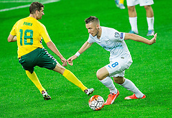 Mindaugas Panka of Lithuania vs Jasmin Kurtic of Slovenia during the EURO 2016 Qualifier Group E match between Slovenia and Lithuania, on October 9, 2015 in SRC Stozice, Ljubljana Slovenia. Photo by Vid Ponikvar / Sportida