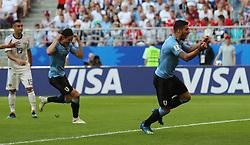 SAMARA, June 25, 2018  Luis Suarez (R) of Uruguay celebrates scoring during the 2018 FIFA World Cup Group A match between Uruguay and Russia in Samara, Russia, June 25, 2018. (Credit Image: © Bai Xueqi/Xinhua via ZUMA Wire)