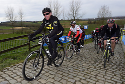 March 30, 2018 - Oudenaarde, Belgique - OUDENAARDE, BELGIUM - MARCH 30 : Former cyclist Johan Bruyneel on the Paterberg climb during a training session prior to the Flanders Classics UCI WorldTour 102nd Ronde van Vlaanderen cycling race with start in Antwerpen and finish in Oudenaarde on March 30, 2018 in Oudenaarde, Belgium, 30/03/2018 (Credit Image: © Panoramic via ZUMA Press)
