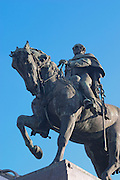 Plaza Independencia Independence Square with the mausoleum of General Jose Artigas with equestrian statue on the square. The general on a horse. Montevideo, Uruguay, South America