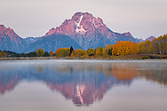 A purple sunrise over Mt Moran with a fall reflection.