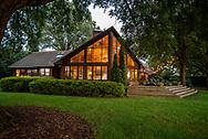 Twilight of lake house on Lake Norman