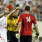 Puerto Rico United Goalkeeper Jose Miranda Boudy (14) receives a red card and gets ejected from the game during a United Soccer League Pro soccer match between Puerto Rico United and the Orlando City Lions at the Florida Citrus Bowl on April 22, 2011 in Orlando, Florida.  (AP Photo/Alex Menendez)