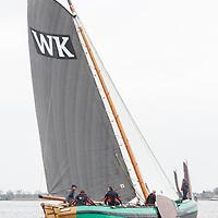 Skûtsjesilen Langwar 2018. Openingswedstrijd van het skûtsjeseizoen.