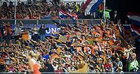 AMSTELVEEN -  Naar links tijdens de damesfinale Nederland-Belgie bij de Rabo EuroHockey Championships 2017. COPYRIGHT KOEN SUYK