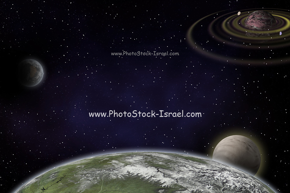 Computer generated fantasy image of a planet in deep space gaseous nebula in the background