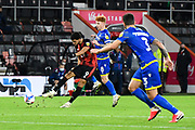 Dominic Solanke (9) of AFC Bournemouth shoots at goal during the EFL Sky Bet Championship match between Bournemouth and Nottingham Forest at the Vitality Stadium, Bournemouth, England on 24 November 2020.