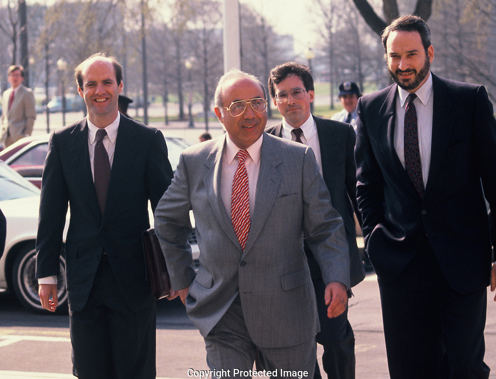 Albert Hakin arrives at the US District Court at the Irancontra legal proceedings.<br /> Photo by Dennis Brack