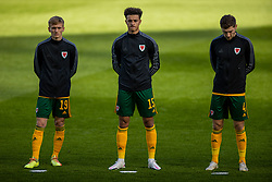 DUBLIN, REPUBLIC OF IRELAND - Sunday, October 11, 2020: Wales' Matthew Smith, Ethan Ampadu and Ben Davies line-up for the national anthem before the UEFA Nations League Group Stage League B Group 4 match between Republic of Ireland and Wales at the Aviva Stadium. The game ended in a 0-0 draw. (Pic by David Rawcliffe/Propaganda)