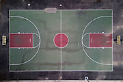 A general view of a vacant basketball court at Belvedere Park amid the global coronavirus COVID-19 pandemic, Thursday, June 18, 2020, in Los Angeles.