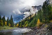 Rainbow over McDonald Creek, Glacier National Park.