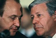 Washington, DC, 1982/01/06 German Foreign Minister  Hans-Dietrich Genscher and Chancellor Helmut Schmidt confer<br />Photo by Dennis Brack
