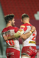 Rugby League - 2020 Betfair Super League - Semi-final - St Helens vs Catalan Dragons - TW Stadium<br /> <br /> St. Helens's James Bentley celebrates scoring a try with team mates<br /> <br /> COLORSPORT/TERRY DONNELLY