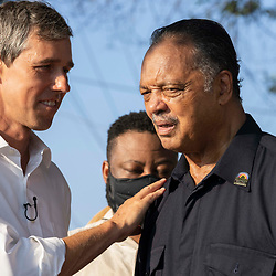 Rev.  JESSE JACKSON speaks with BETO O'ROURKE as voting rights groups march toward the Texas Capitol from north Austin on the third day of a 30-mile journey protesting Republican efforts to suppress votes nationwide and in Texas. Shifts of marchers trade off in an effort to combat oppressive Texas heat.