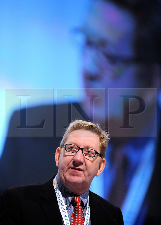 © Licensed to London News Pictures. 29/09/2011. LONDON, UK. Len McCluskey from the UNITE union addresses The Labour Party Conference in Liverpool today (29/09/11). Photo credit:  Stephen Simpson/LNP