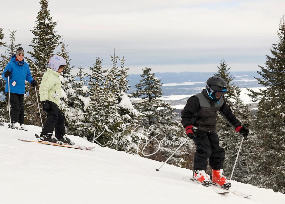 Enjoying the new snow that fell at Gunstock Mountain Resort during Massachusetts Vacation Week.