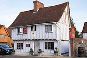 Sworders estate agents established in 1782 in timber-framed house in Market Square in quaint historic town of Lavenham in Suffolk, England, UK