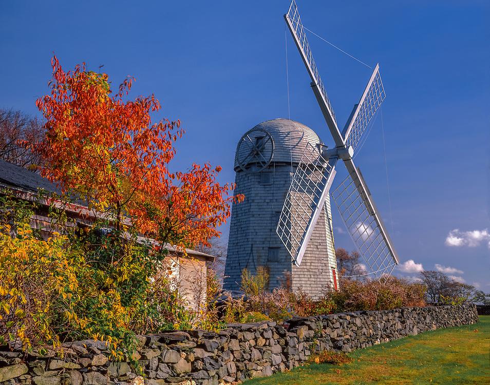 Historic windmill, stonewall and fall color, Jamestown, RI