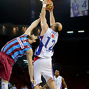 Anadolu Efes's Nenad Krstic (R) during their Turkish Basketball League Play Off Semi Final round 1 match Anadolu Efes between Trabzonspor at Abdi Ipekci Arena in Istanbul Turkey on Friday 29 May 2015. Photo by Aykut AKICI/TURKPIX
