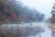 Early one morning at Steel Creek on the Buffalo River I happened to see this lone canoe on the water.