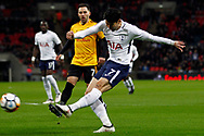 Son Heung-min of Tottenham Hotspur takes a shot at goal. The Emirates FA Cup, 4th round replay match, Tottenham Hotspur v Newport County at Wembley Stadium in London on Wednesday 7th February 2018.<br /> pic by Steffan Bowen, Andrew Orchard sports photography.