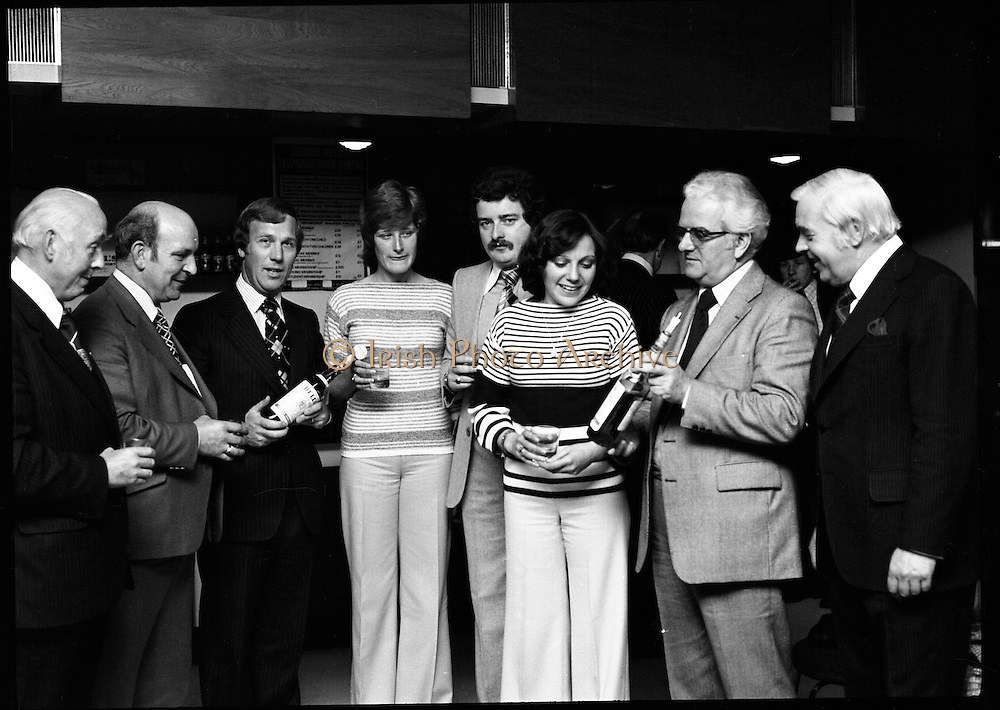 Leopardstown Reception - Whiskey.03/06/1976.06/03/1976.3rd June 1976.Hedges & Butler Ireland Ltd., reception for Bell's Whiskey at Leopardstown,  Pictured L-R, Mr. Michael Walsh, (Sandyford House), Vice-President, National Vintners Association, Mr. Larry Ryan, Chairman, Dublin Licensed Vintners Association, Mr. G.R. Newbold, (Bells), Miss Jone Butterly, (Hedges & Butler), Mr. Tom Kennedy, (Hedges & Butler), Miss Elizabeth Murphy, (Hedges & Butler), Mr. E.P. McDonald, (Hedges & Butler), Mr. D. Dean, (Bells).