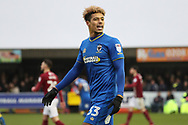 AFC Wimbledon striker Lyle Taylor (33) not very happy with a decision during the EFL Sky Bet League 1 match between AFC Wimbledon and Northampton Town at the Cherry Red Records Stadium, Kingston, England on 10 February 2018. Picture by Matthew Redman.
