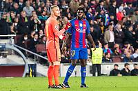 FC Barcelona's Jasper Cilissen, Samuel Umiti  during Champions League match between Futbol Club Barcelona and VfL Borussia Mönchengladbach  at Camp Nou Stadium in Barcelona , Spain. December 06, 2016. (ALTERPHOTOS/Rodrigo Jimenez)