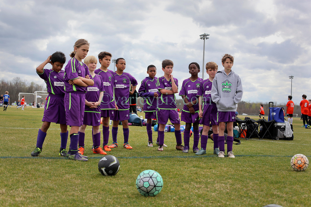 28 February 2016. Burbank Soccer Complex, Baton Rouge, Louisiana.<br /> New Orleans Jesters Junior Academy U10 team Purple.<br /> Photo©; Charlie Varley/varleypix.com