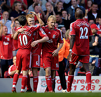 Photo: Jed Wee.<br />Liverpool v Tottenham Hotspur. The Barclays Premiership. 23/09/2006.<br /><br />Liverpool celebrate with goalscorer John Arne Riise (2nd, L).