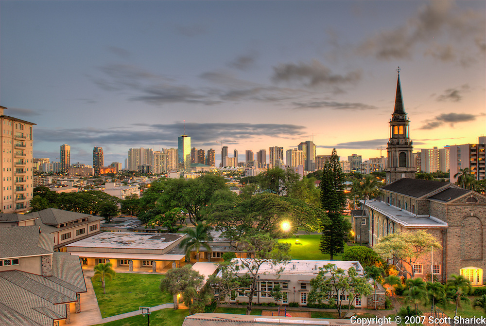 An HDR image showing Waikiki and Central Union Church in Honolulu, Hawaii