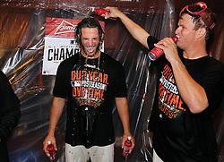 Madison Bumgarner and Matt Cain celebrate winning NLDS, 2014 World Series Champion Giants