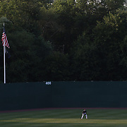 Aaron Hicks, New Britain Rock Cats, in the outfield during the New Britain Rock Cats Vs Binghamton Mets Minor League Baseball game at New Britain Stadium, New Britain, Connecticut, USA. 2nd July 2014. Photo Tim Clayton