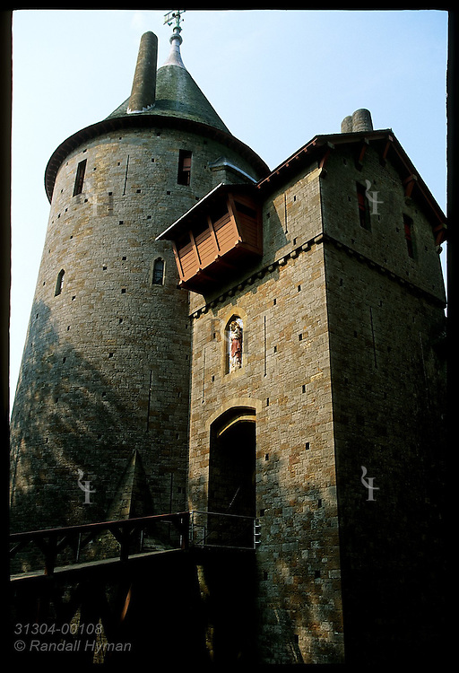 Guard & keep towers loom at Castell Coch, or Red Castle, built 1875-91 by Wm Burges for Lord Bute on medieval ruins; Cardiff, Wales