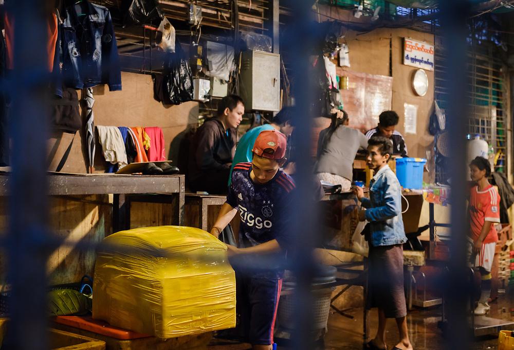 YANGON, MYANMAR - Back street of the Yangon Street Market