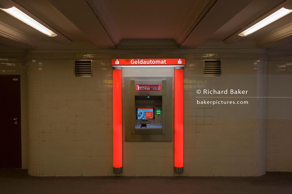 A cash dispenser in a U-Bahn station of Seestrasse in Wedding, a north-western district of Berlin.
