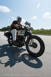 Craig Jackman riding his 1936 HD VLH Twin Carb during Stage 3 of the Motorcycle Cannonball Cross-Country Endurance Run, which on this day ran from Columbus, GA to Chatanooga, TN., USA. Sunday, September 7, 2014.  Photography ©2014 Michael Lichter.
