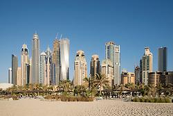 Skyline of skyscrapers  at Marina district of Dubai United Arab Emirates